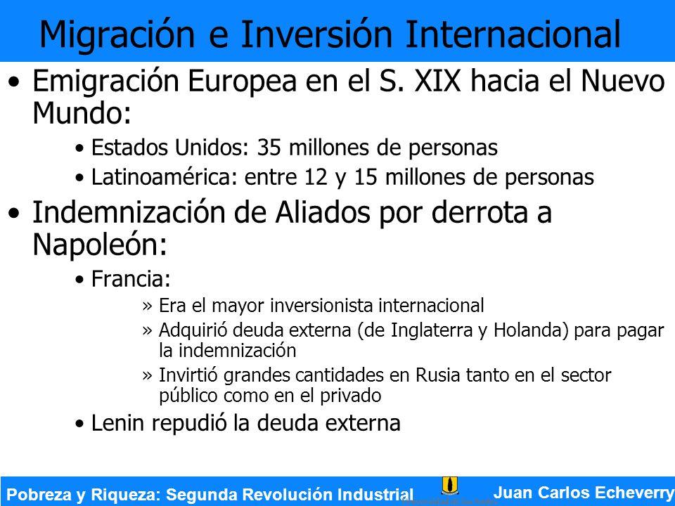 Migración e Inversión Internacional Emigración Europea en el S. XIX hacia el Nuevo Mundo: Estados Unidos: 35 millones de personas Latinoamérica: entre