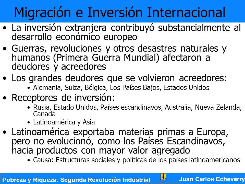 La inversión extranjera contribuyó substancialmente al desarrollo económico europeo Guerras, revoluciones y otros desastres naturales y humanos (Prime