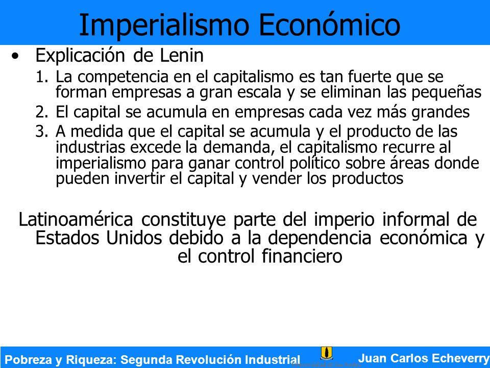 Imperialismo Económico Explicación de Lenin 1.La competencia en el capitalismo es tan fuerte que se forman empresas a gran escala y se eliminan las pe