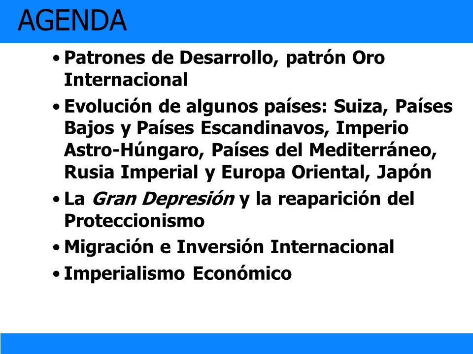 AGENDA Patrones de Desarrollo, patrón Oro Internacional Evolución de algunos países: Suiza, Países Bajos y Países Escandinavos, Imperio Astro-Húngaro,