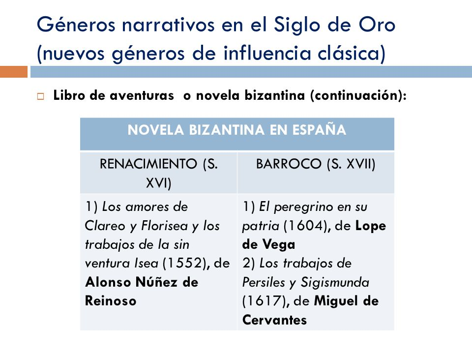Géneros narrativos en el Siglo de Oro (nuevos géneros de influencia clásica) Libro de aventuras o novela bizantina (continuación): NOVELA BIZANTINA EN