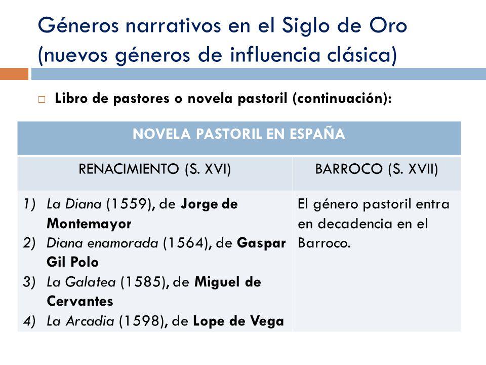Géneros narrativos en el Siglo de Oro (nuevos géneros de influencia clásica) Libro de pastores o novela pastoril (continuación): NOVELA PASTORIL EN ES