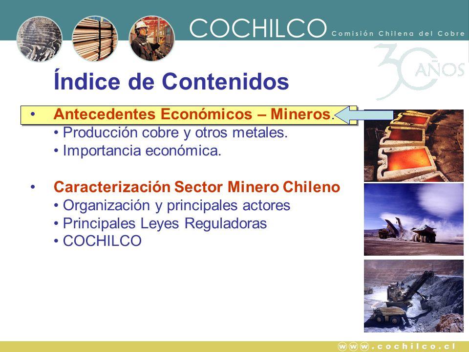 Índice de Contenidos Antecedentes Económicos – Mineros. Producción cobre y otros metales. Importancia económica. Caracterización Sector Minero Chileno