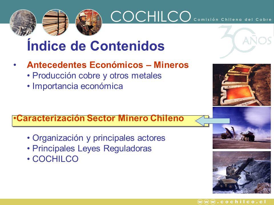 Índice de Contenidos Antecedentes Económicos – Mineros Producción cobre y otros metales Importancia económica Caracterización Sector Minero Chileno Or