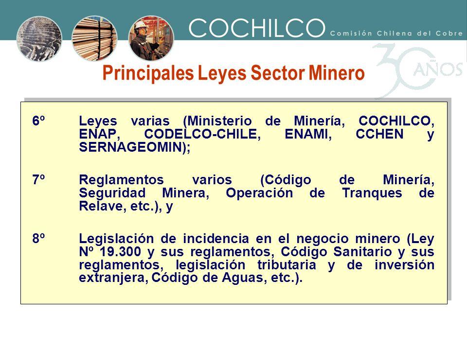 6ºLeyes varias (Ministerio de Minería, COCHILCO, ENAP, CODELCO-CHILE, ENAMI, CCHEN y SERNAGEOMIN); 7ºReglamentos varios (Código de Minería, Seguridad