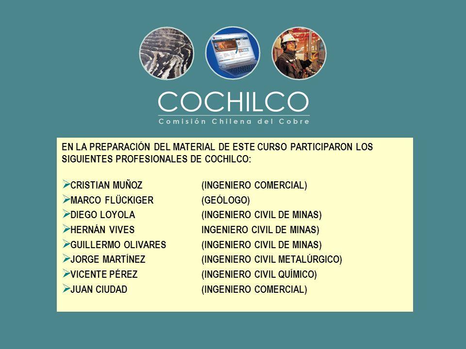 EN LA PREPARACIÓN DEL MATERIAL DE ESTE CURSO PARTICIPARON LOS SIGUIENTES PROFESIONALES DE COCHILCO: CRISTIAN MUÑOZ (INGENIERO COMERCIAL) MARCO FLÜCKIG