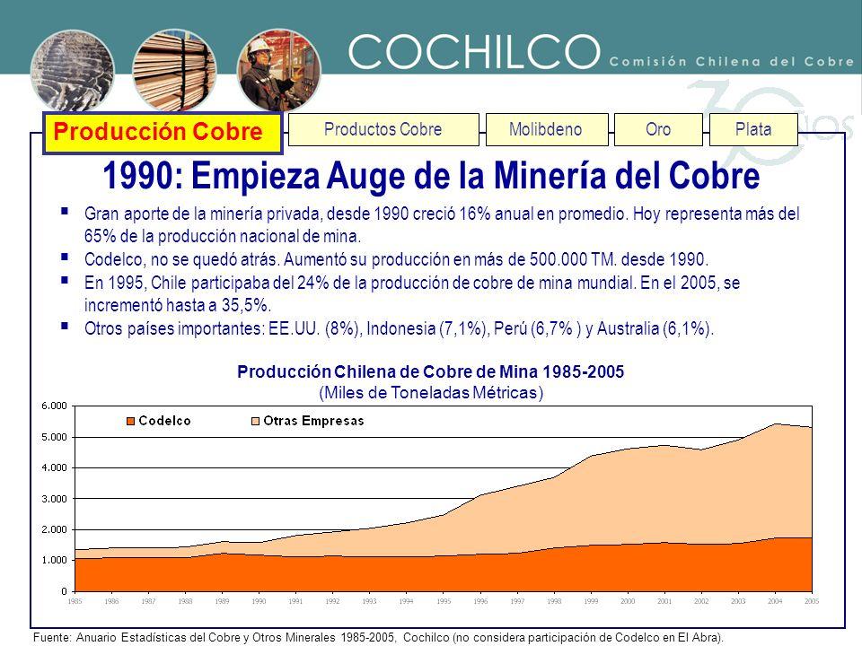 Producción Cobre Productos CobreMolibdenoOroPlata 1990: Empieza Auge de la Miner í a del Cobre Fuente: Anuario Estadísticas del Cobre y Otros Minerale