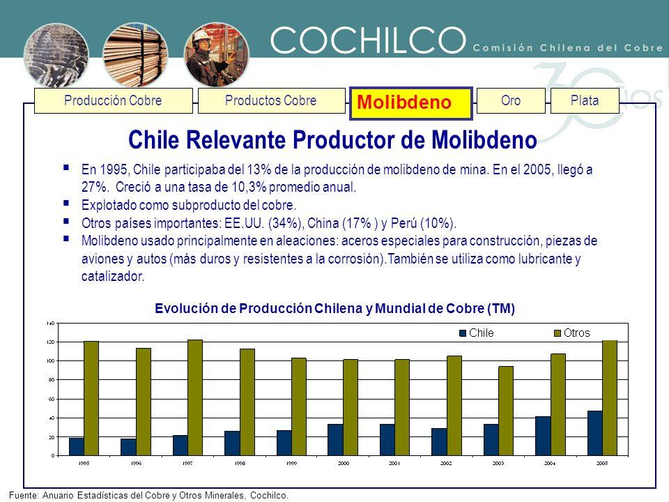 Producción CobreProductos Cobre Molibdeno OroPlata Fuente: Anuario Estadísticas del Cobre y Otros Minerales, Cochilco. En 1995, Chile participaba del
