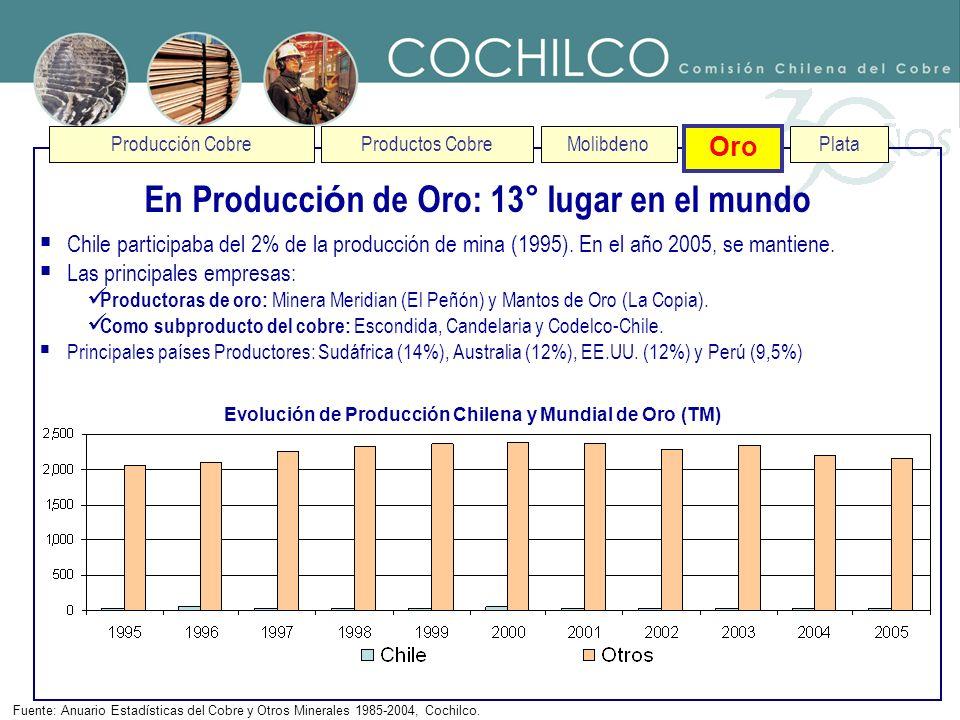 Producción CobreProductos CobreMolibdenoOro Plata En Producci ó n Plata: 5° lugar en el mundo Fuente: Anuario Estadísticas del Cobre y Otros Minerales 1985-2005, Cochilco.