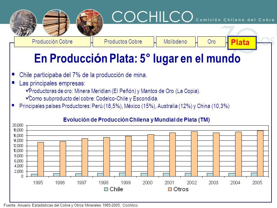 Producción CobreProductos CobreMolibdenoOro Plata En Producci ó n Plata: 5° lugar en el mundo Fuente: Anuario Estadísticas del Cobre y Otros Minerales