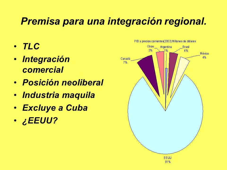 Premisa para una integración regional.