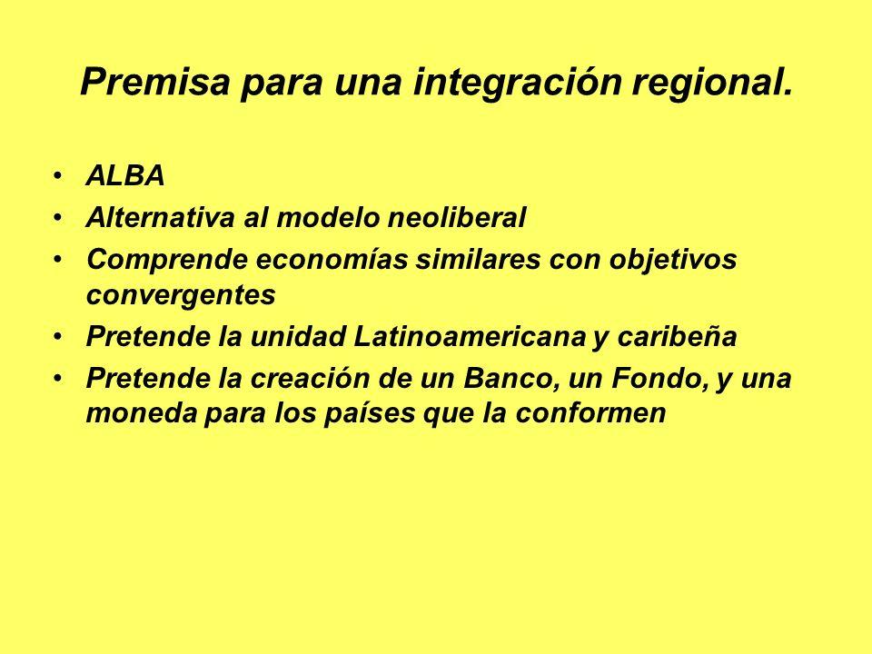 Premisa para una integración regional.Creación de una moneda común y sus funciones.