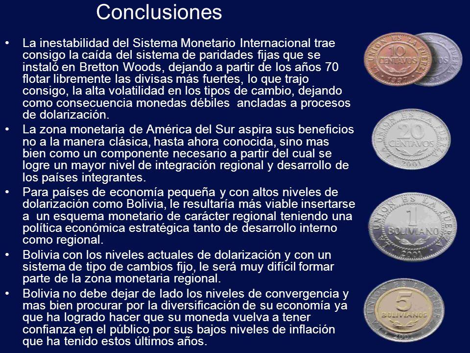 Recomendaciones Los países integrantes de la zona monetaria de América del Sur no deberían abandonar sus monedas nacionales, sin embargo si pueden coordinar sus políticas económicas a fin de resolver los problemas internos de cada país como los de la región.