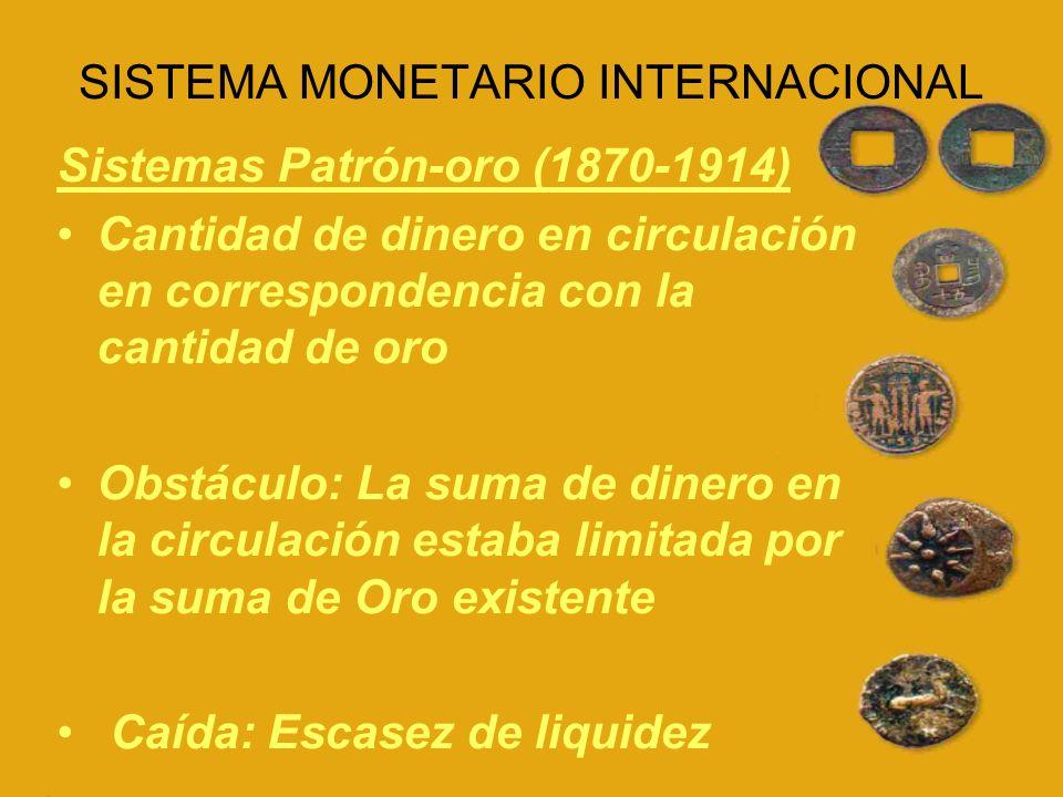 SISTEMA MONETARIO INTERNACIONAL Patrón cambios-oro Libra esterlina se convierte en la moneda generalizada del sistema, resolviéndose así el problema de liquidez internacional.