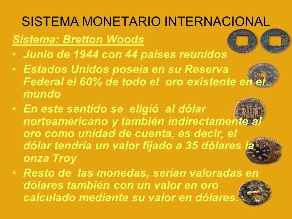 Donde se crea: Fondo Monetario Internacional ( Que establecería un sistema de pago multilateral y daría solución a las dificultades de aquellos países que tenían balanza de pagos desajustadas ) Banco Mundial (Concede créditos a largo plazo con fines de desarrollo a los países miembros)