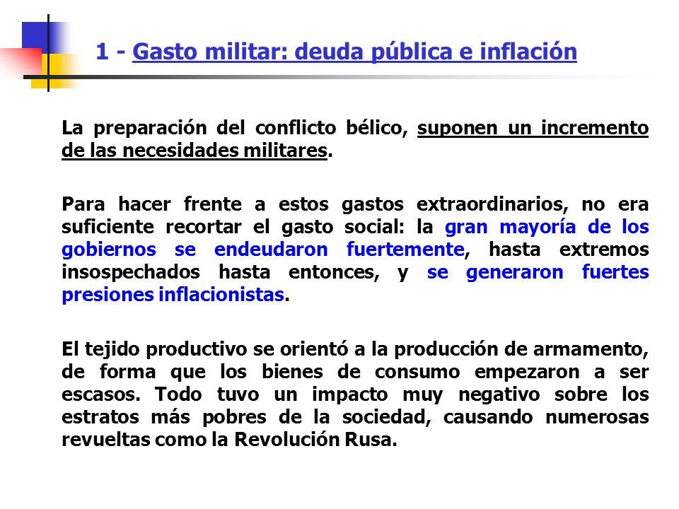 1 - Gasto militar: deuda pública e inflación La preparación del conflicto bélico, suponen un incremento de las necesidades militares. Para hacer frent