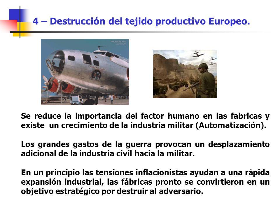Se reduce la importancia del factor humano en las fabricas y existe un crecimiento de la industria militar (Automatización). Los grandes gastos de la