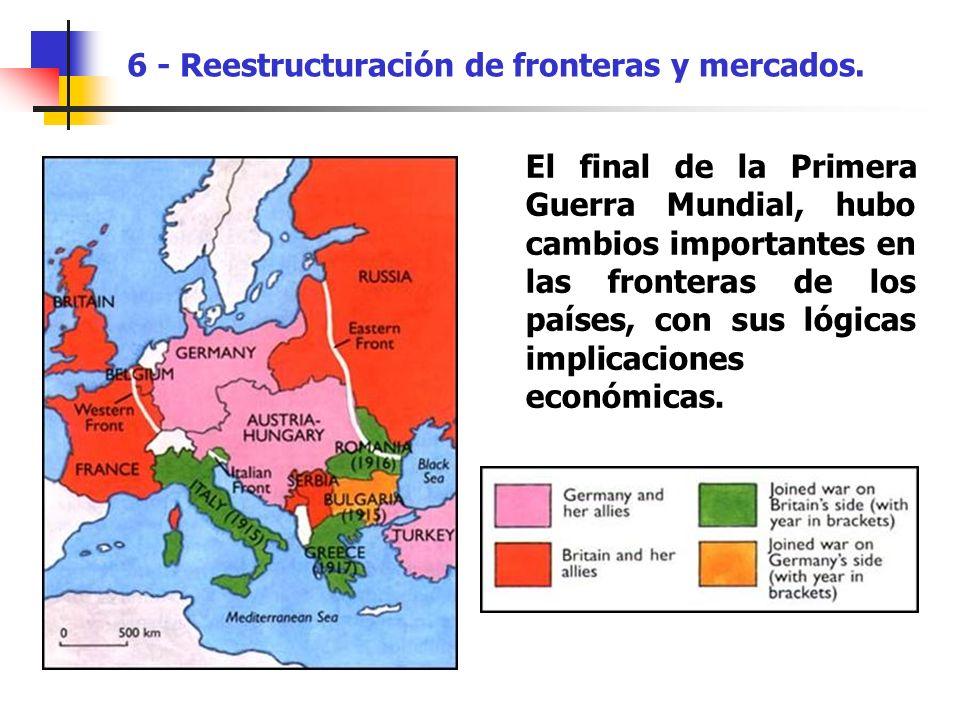 El final de la Primera Guerra Mundial, hubo cambios importantes en las fronteras de los países, con sus lógicas implicaciones económicas. 6 - Reestruc