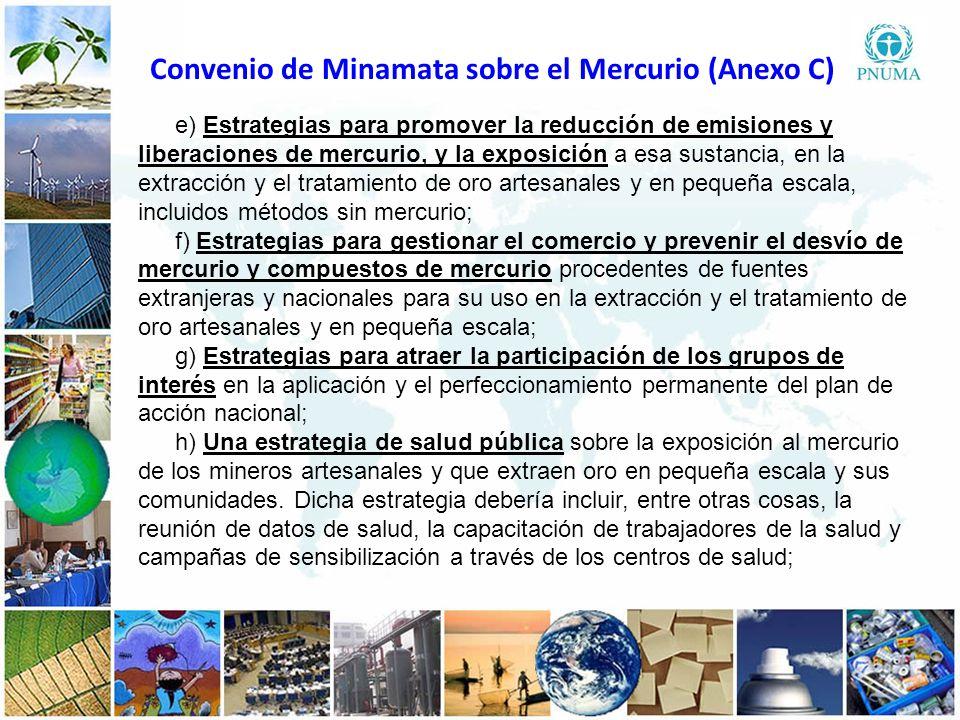 3 33 e) Estrategias para promover la reducción de emisiones y liberaciones de mercurio, y la exposición a esa sustancia, en la extracción y el tratami