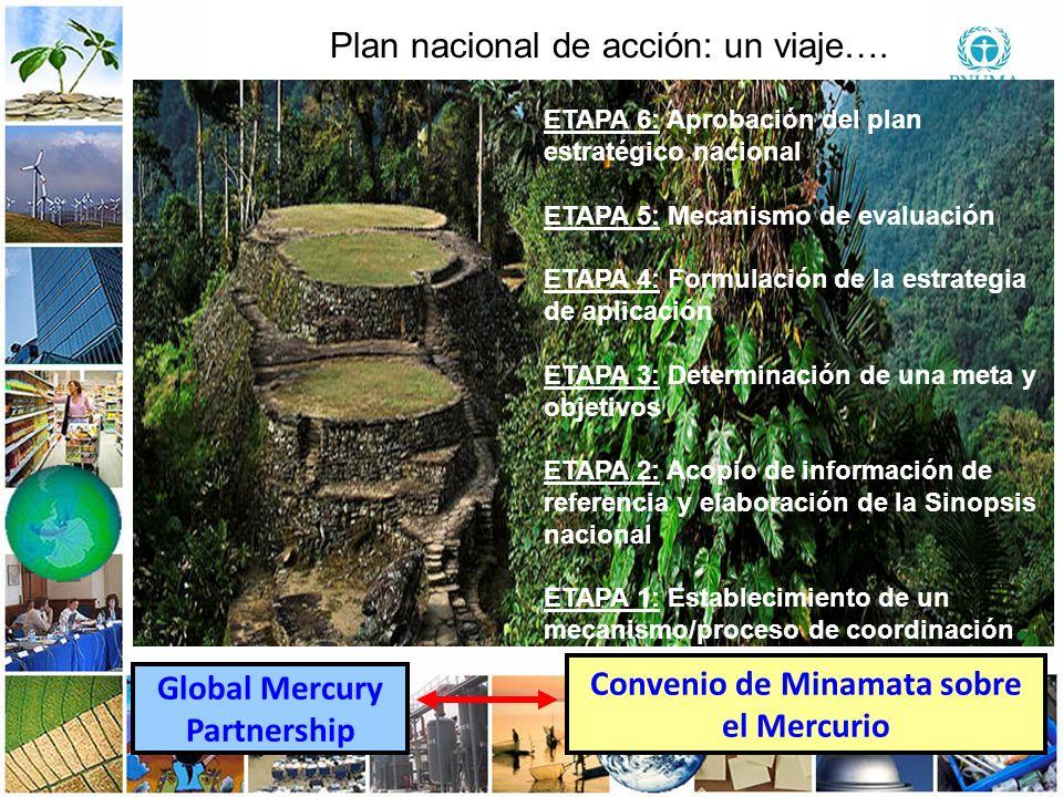 9 99 Global Mercury Partnership Convenio de Minamata sobre el Mercurio Plan nacional de acción: un viaje…. ETAPA 6: Aprobación del plan estratégico na