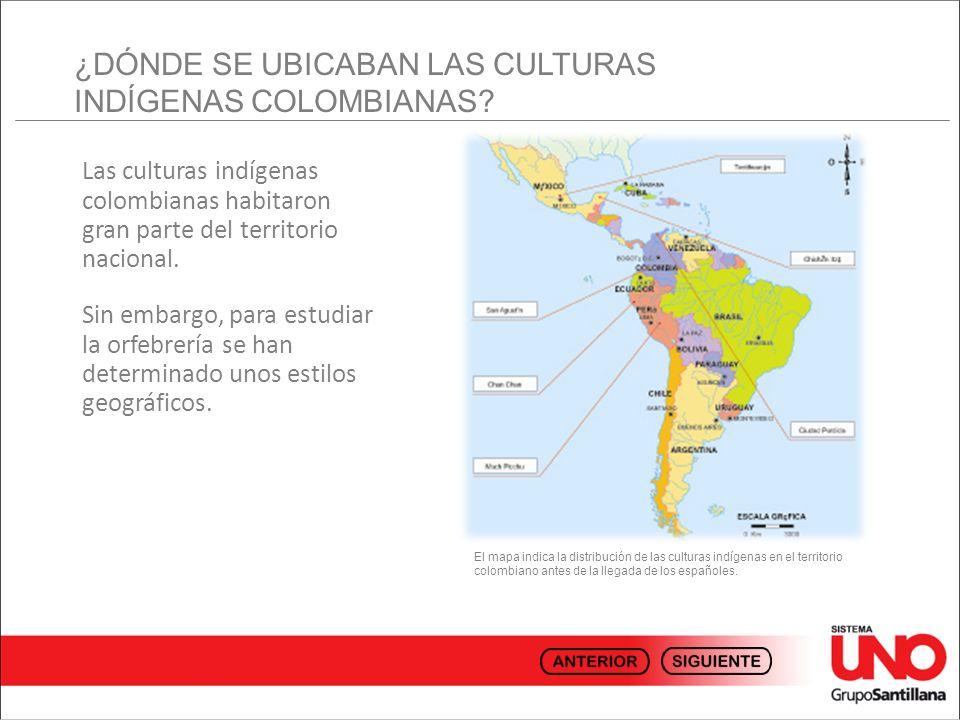 Las culturas indígenas colombianas habitaron gran parte del territorio nacional. Sin embargo, para estudiar la orfebrería se han determinado unos esti