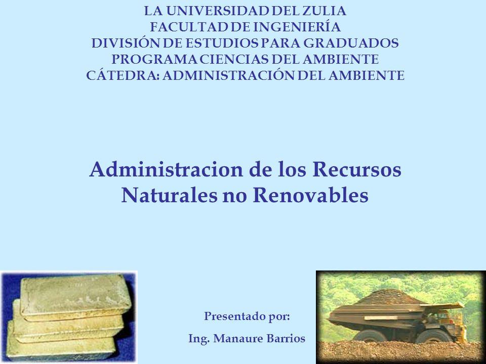 LA UNIVERSIDAD DEL ZULIA FACULTAD DE INGENIERÍA DIVISIÓN DE ESTUDIOS PARA GRADUADOS PROGRAMA CIENCIAS DEL AMBIENTE CÁTEDRA: ADMINISTRACIÓN DEL AMBIENT