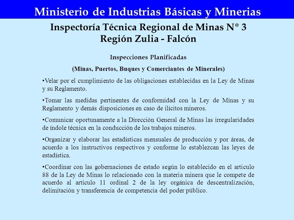 Inspectoría Técnica Regional de Minas Nº 3 Región Zulia - Falcón Ministerio de Industrias Básicas y Minerias Inspecciones Planificadas ( Minas, Puerto