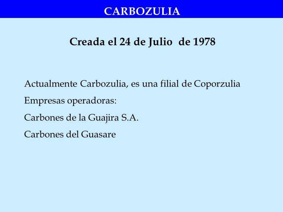 Creada el 24 de Julio de 1978 CARBOZULIA Actualmente Carbozulia, es una filial de Coporzulia Empresas operadoras: Carbones de la Guajira S.A. Carbones
