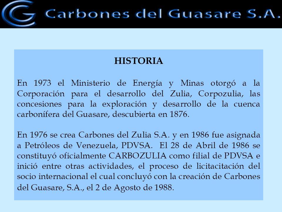 HISTORIA En 1973 el Ministerio de Energía y Minas otorgó a la Corporación para el desarrollo del Zulia, Corpozulia, las concesiones para la exploració
