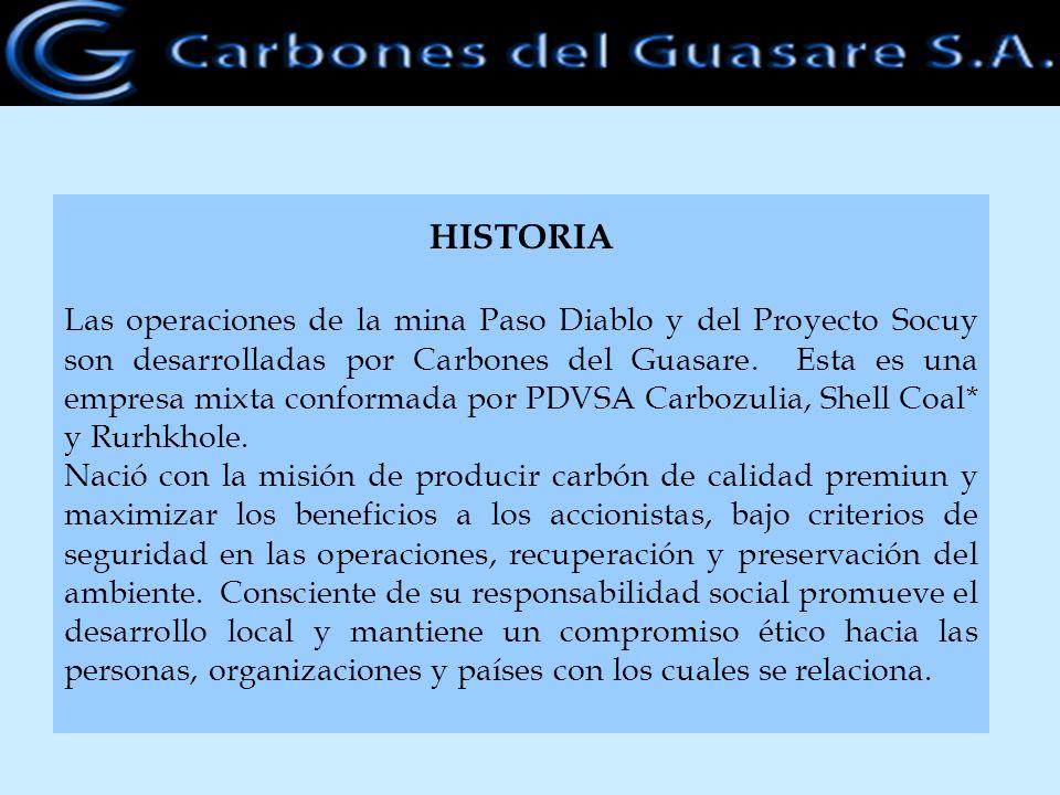 HISTORIA Las operaciones de la mina Paso Diablo y del Proyecto Socuy son desarrolladas por Carbones del Guasare. Esta es una empresa mixta conformada