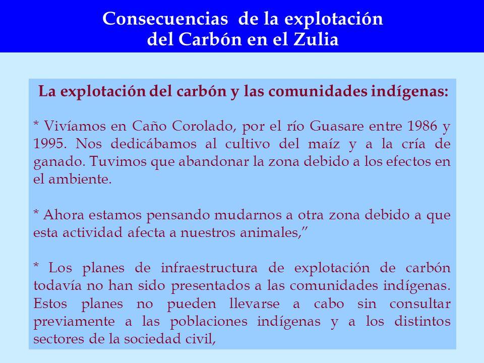 La explotación del carbón y las comunidades indígenas: * Vivíamos en Caño Corolado, por el río Guasare entre 1986 y 1995. Nos dedicábamos al cultivo d