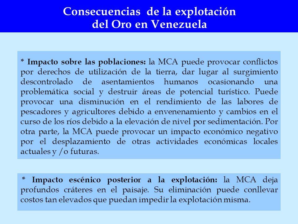 * Impacto sobre las poblaciones: la MCA puede provocar conflictos por derechos de utilización de la tierra, dar lugar al surgimiento descontrolado de