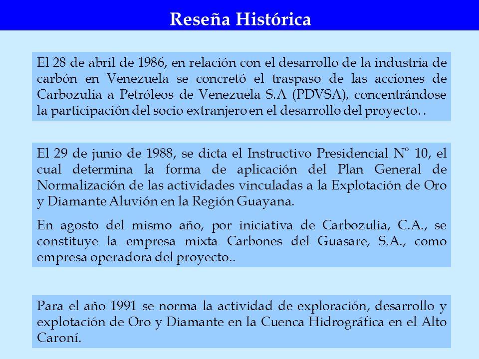 El 28 de abril de 1986, en relación con el desarrollo de la industria de carbón en Venezuela se concretó el traspaso de las acciones de Carbozulia a P