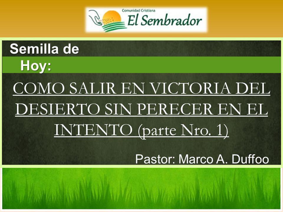 Pastor: Marco A. Duffoo COMO SALIR EN VICTORIA DEL DESIERTO SIN PERECER EN EL INTENTO (parte Nro. 1) Semilla de Hoy: