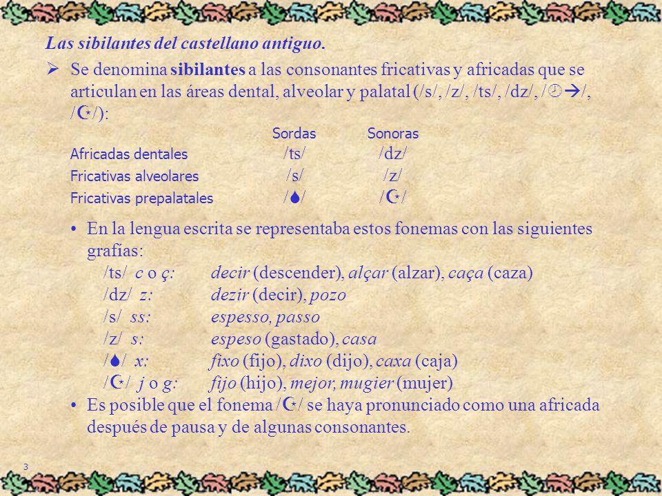 4 Las sibilantes del castellano antiguo (cont.).