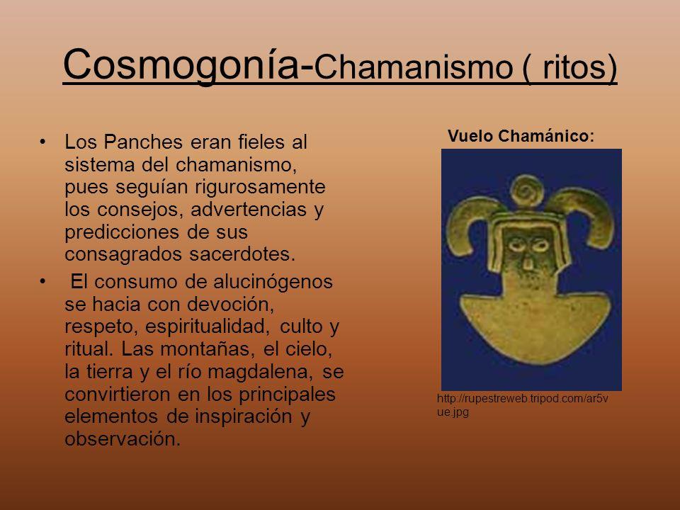 Cosmogonía- Chamanismo ( ritos) Los Panches eran fieles al sistema del chamanismo, pues seguían rigurosamente los consejos, advertencias y prediccione