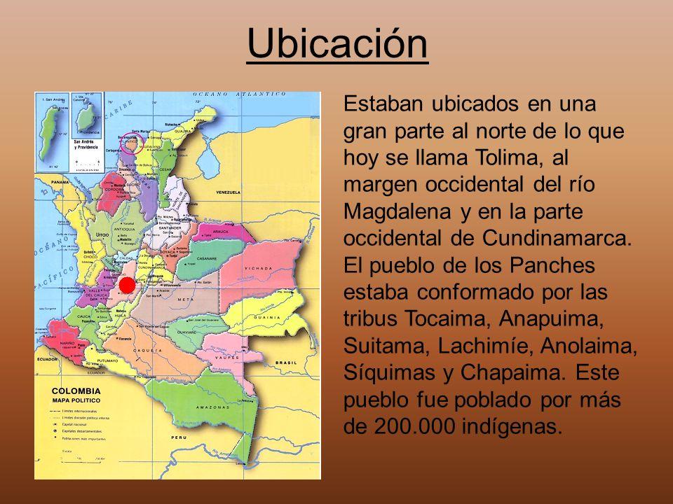 Ubicación Estaban ubicados en una gran parte al norte de lo que hoy se llama Tolima, al margen occidental del río Magdalena y en la parte occidental d