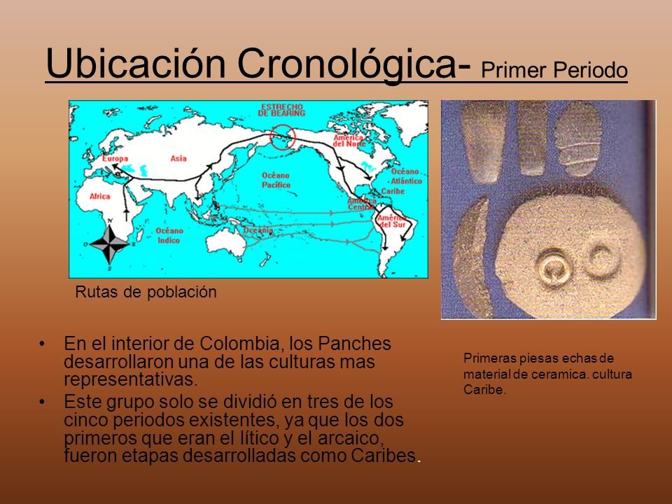 Ubicación Cronológica- Primer Periodo En el interior de Colombia, los Panches desarrollaron una de las culturas mas representativas. Este grupo solo s