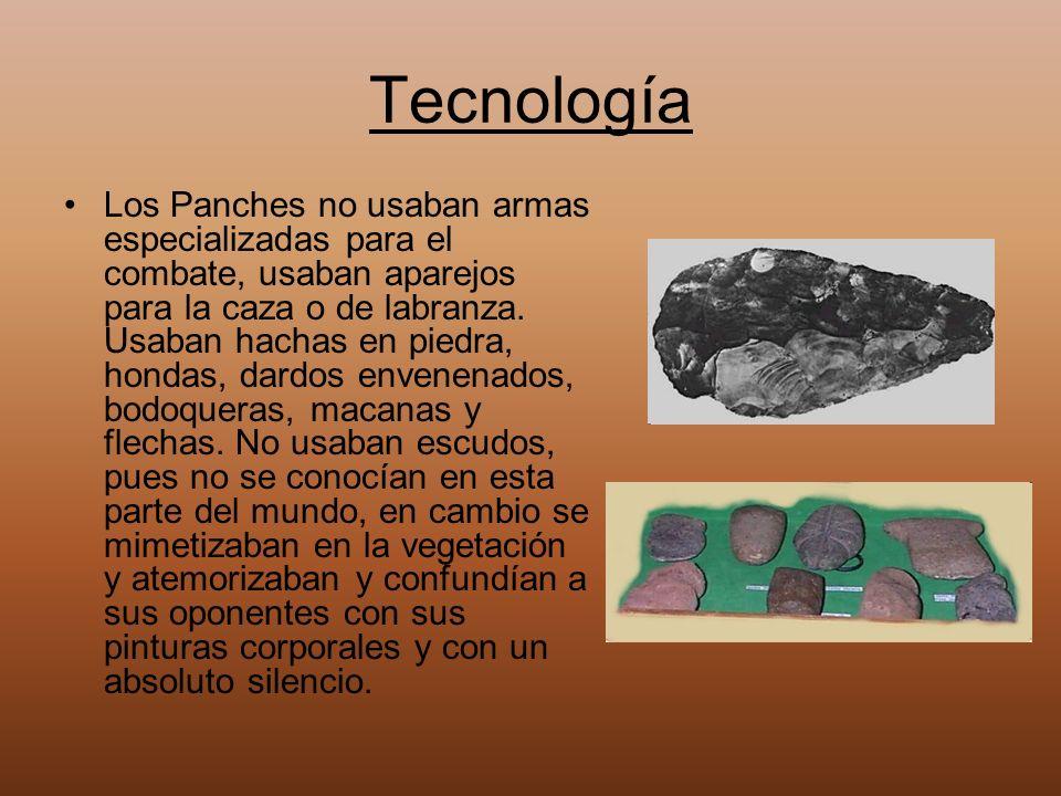 Tecnología Los Panches no usaban armas especializadas para el combate, usaban aparejos para la caza o de labranza. Usaban hachas en piedra, hondas, da