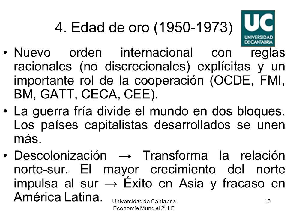 Universidad de Cantabria Economía Mundial 2º LE 13 4. Edad de oro (1950-1973) Nuevo orden internacional con reglas racionales (no discrecionales) expl