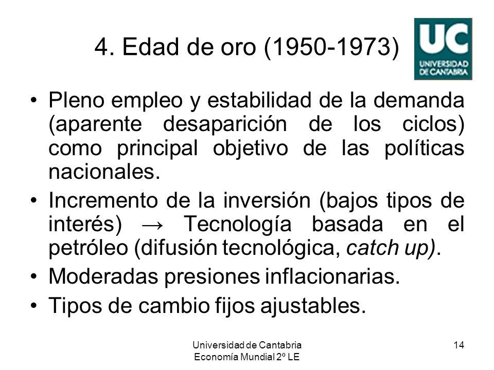Universidad de Cantabria Economía Mundial 2º LE 14 4. Edad de oro (1950-1973) Pleno empleo y estabilidad de la demanda (aparente desaparición de los c
