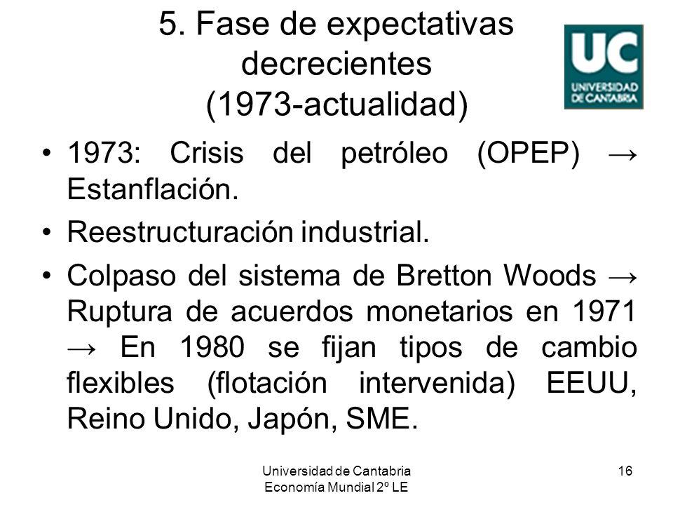 Universidad de Cantabria Economía Mundial 2º LE 16 5. Fase de expectativas decrecientes (1973-actualidad) 1973: Crisis del petróleo (OPEP) Estanflació