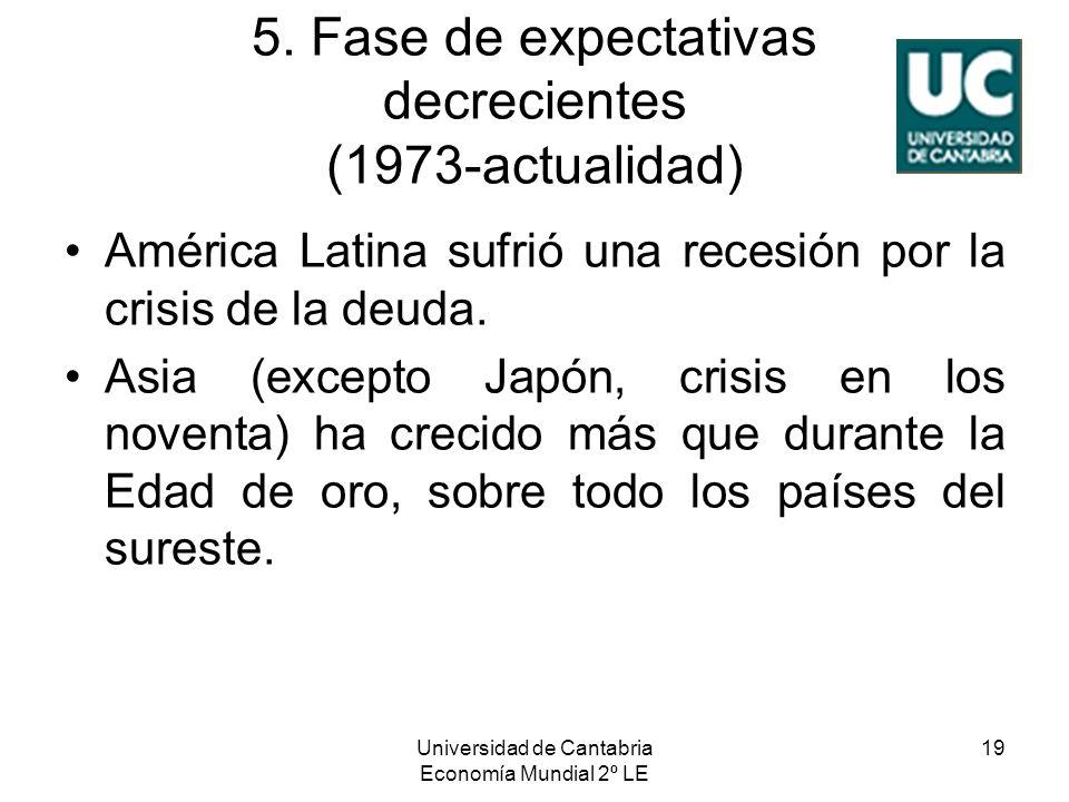 Universidad de Cantabria Economía Mundial 2º LE 19 5. Fase de expectativas decrecientes (1973-actualidad) América Latina sufrió una recesión por la cr
