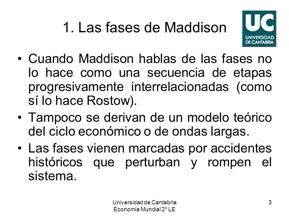 Universidad de Cantabria Economía Mundial 2º LE 3 1. Las fases de Maddison Cuando Maddison hablas de las fases no lo hace como una secuencia de etapas