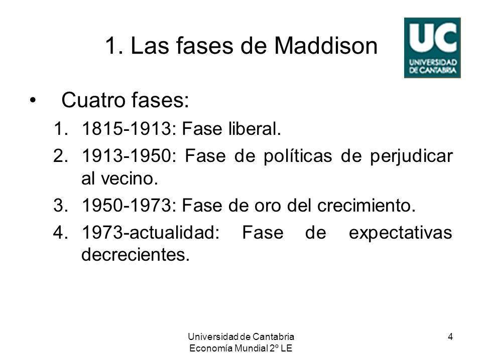 Universidad de Cantabria Economía Mundial 2º LE 4 1. Las fases de Maddison Cuatro fases: 1.1815-1913: Fase liberal. 2.1913-1950: Fase de políticas de