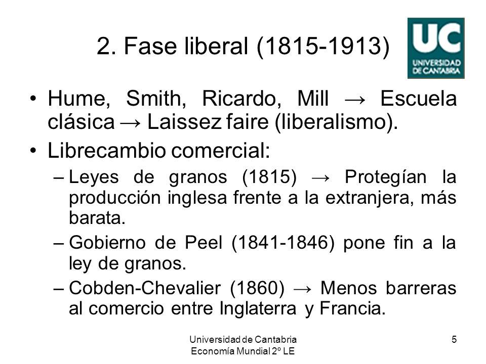 Universidad de Cantabria Economía Mundial 2º LE 5 2. Fase liberal (1815-1913) Hume, Smith, Ricardo, Mill Escuela clásica Laissez faire (liberalismo).