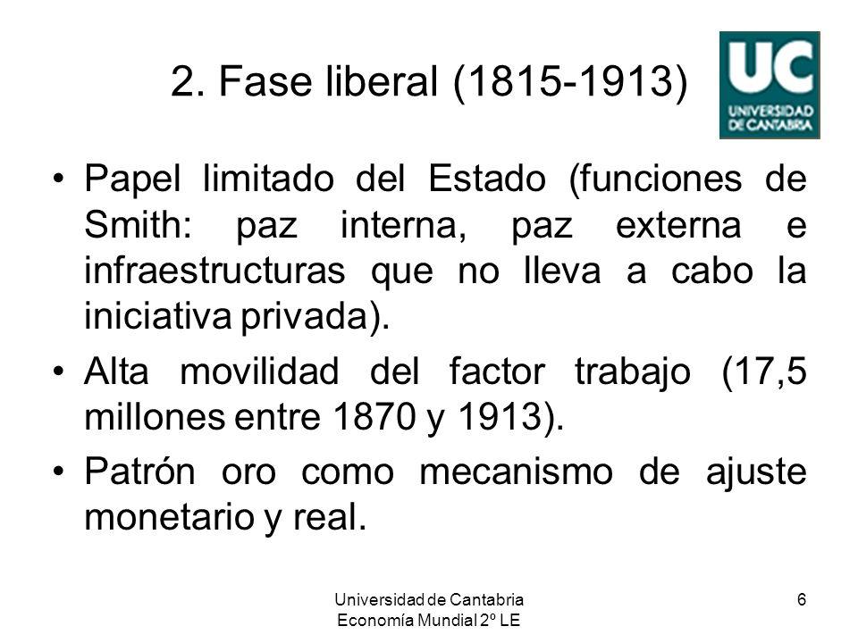 Universidad de Cantabria Economía Mundial 2º LE 6 2. Fase liberal (1815-1913) Papel limitado del Estado (funciones de Smith: paz interna, paz externa