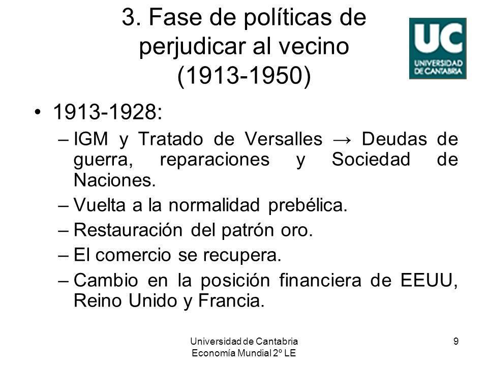Universidad de Cantabria Economía Mundial 2º LE 9 3. Fase de políticas de perjudicar al vecino (1913-1950) 1913-1928: –IGM y Tratado de Versalles Deud