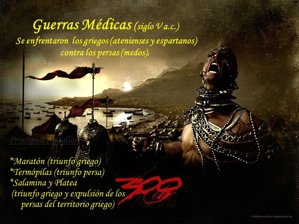 Principales batallas: *Maratón (triunfo griego) *Termópilas (triunfo persa) *Salamina y Platea (triunfo griego y expulsión de los persas del territori