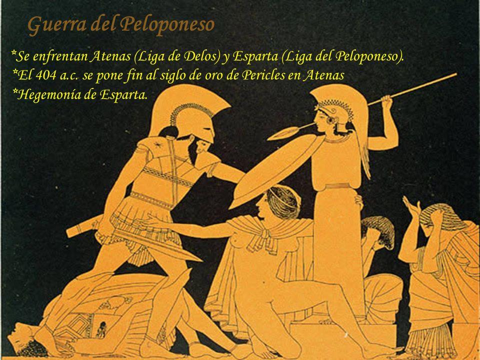 *Se enfrentan Atenas (Liga de Delos) y Esparta (Liga del Peloponeso). *El 404 a.c. se pone fin al siglo de oro de Pericles en Atenas *Hegemonía de Esp